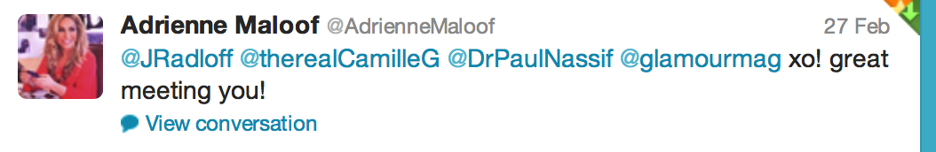 Tweet from Adrienne Maloof