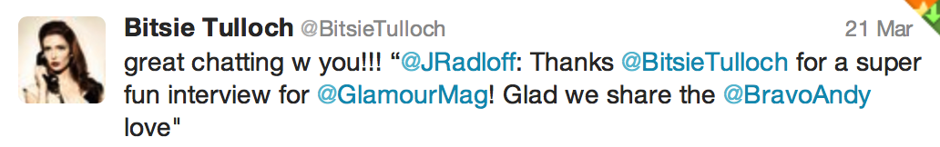 Tweet from Bitsie Tulloch of Grimm
