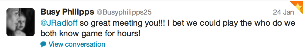 Tweet from Busy Phillips of Cougar Town