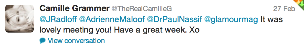 Tweet from Camille Grammer
