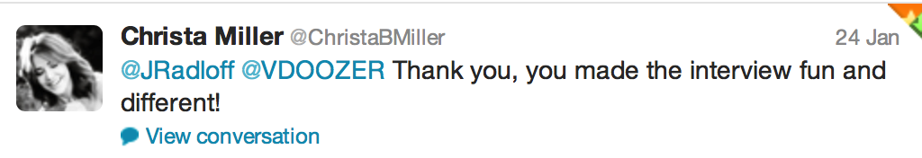 Tweet from Christa Miller of Cougar Town