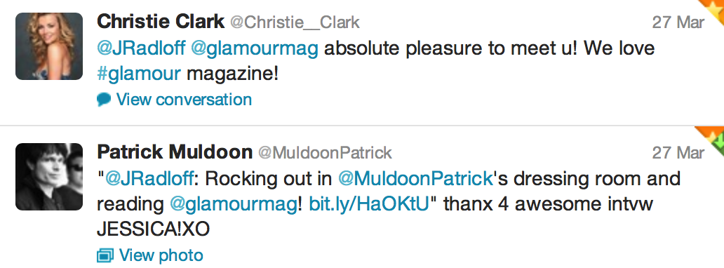 Tweet from Christie Clark and Patrick Muldoon of Days of our Lives