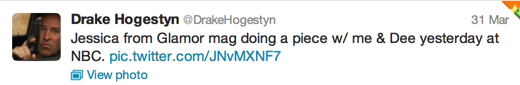 Tweet from Drake Hogestyn of Days of our Lives