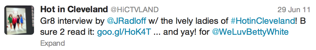 Tweet from Hot in Cleveland