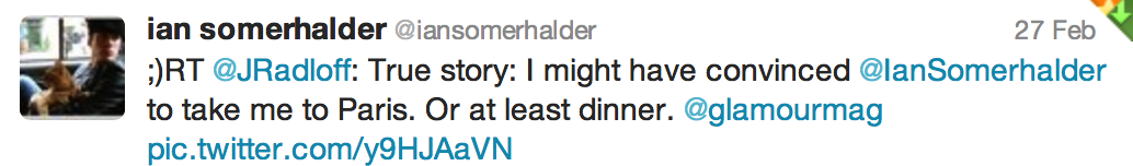 Tweet from Ian Somerhalder of The Vampire Diaries