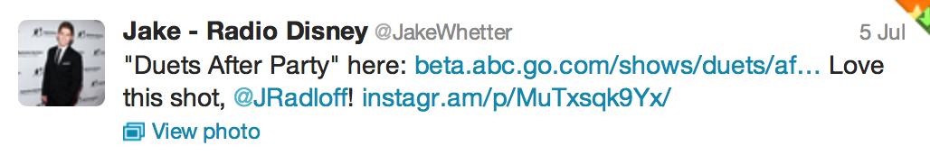Tweet from Jake Whetter at Radio Disney