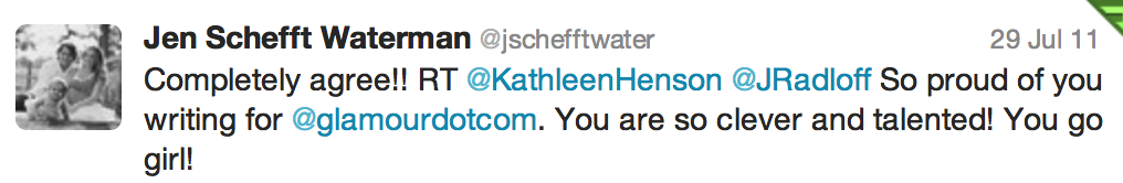 Tweet from Jen Schefft Waterman