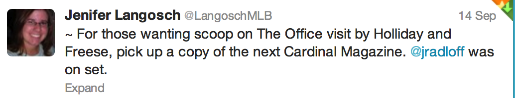 Tweet from Jennifer Langosch, MLB Correspondent