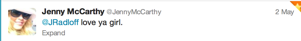 Tweet from Jenny McCarthy