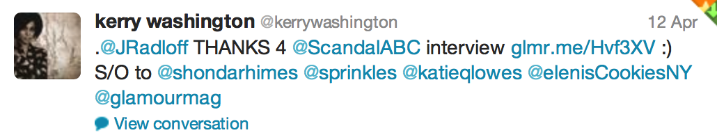 Tweet from Kerry Washington of Scandal