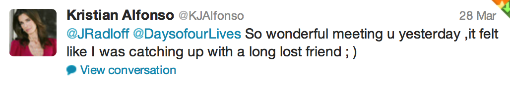 Tweet from Kristian Alfonso of Days of our Lives