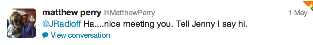 Tweet from Matthew Perry