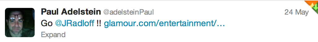 Tweet from Paul Adelstein of Private Practice