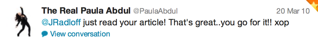 Tweet from Paula Abdul