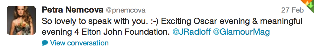 Tweet from Petra Nemcova