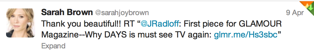 Tweet from Sarah Brown, 3 time Emmy Winner