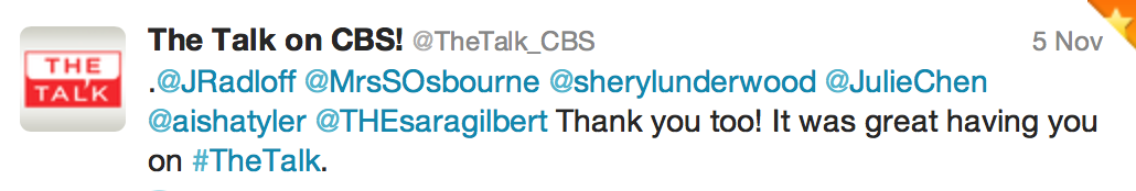 Tweet from The Talk on CBS