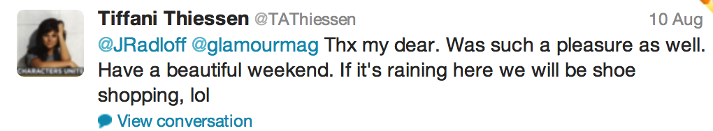 Tweet from Tiffani Amber Thiessen